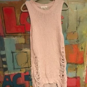 Sweaters - Light pink distressed long sweater